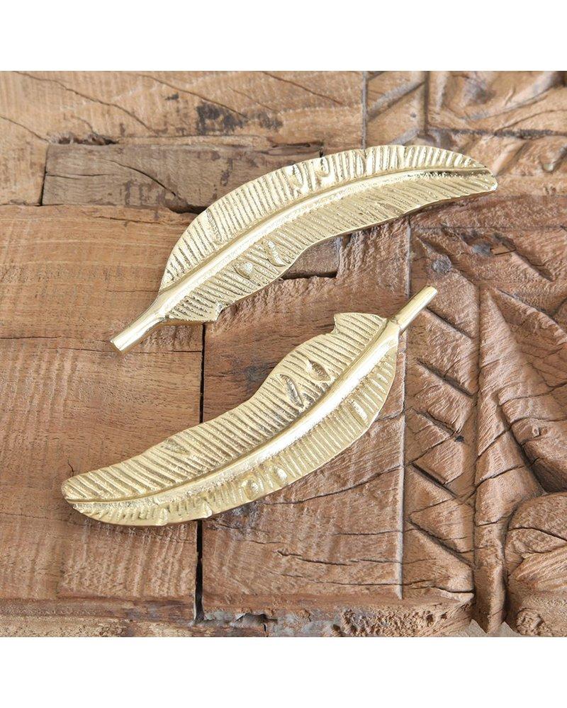 HomArt Cast Metal Brass Feather