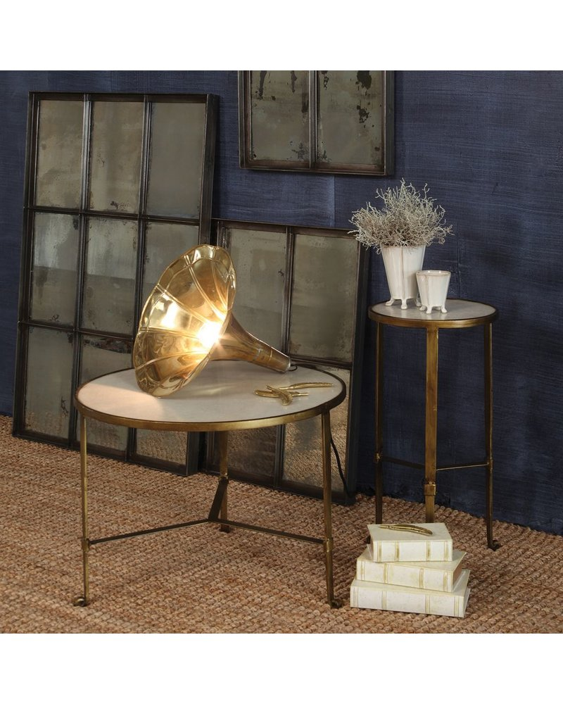 HomArt Savoy Iron & Stone Side Table - Antique Brass with White Marble