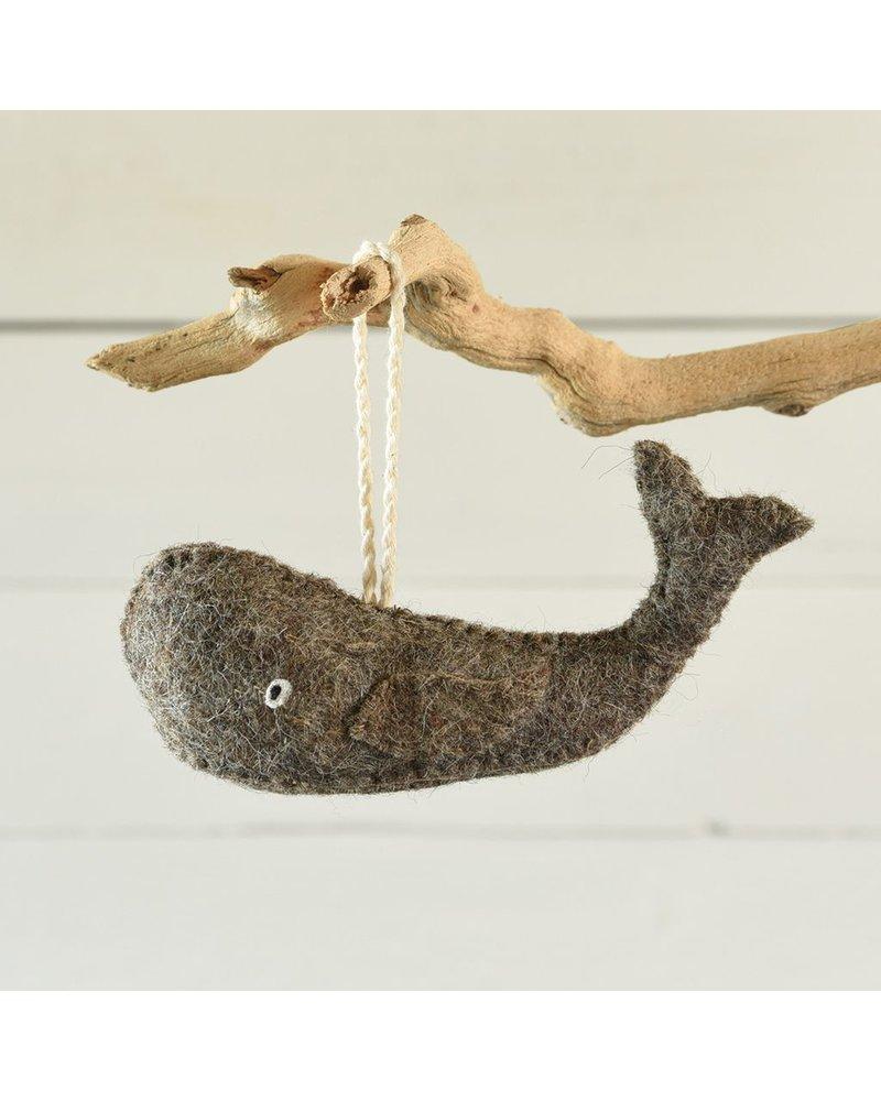 HomArt Felt Grey Whale Ornament