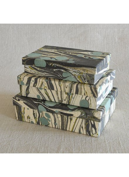 HomArt Marbleized Paper Nesting Boxes - Set of 3-Aqua
