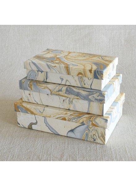 HomArt Marbleized Paper Nesting Boxes - Set of 3-Blue