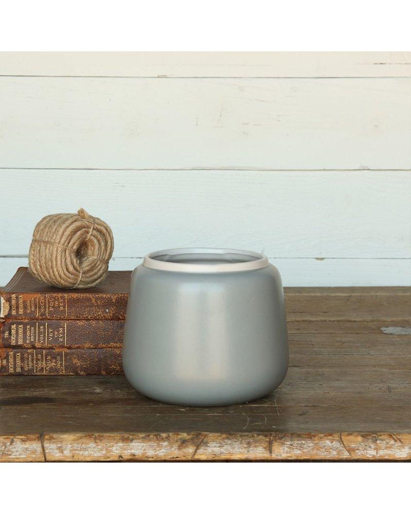 HomArt Helm Ceramic Vase - Med - Matte Blue with White Rim
