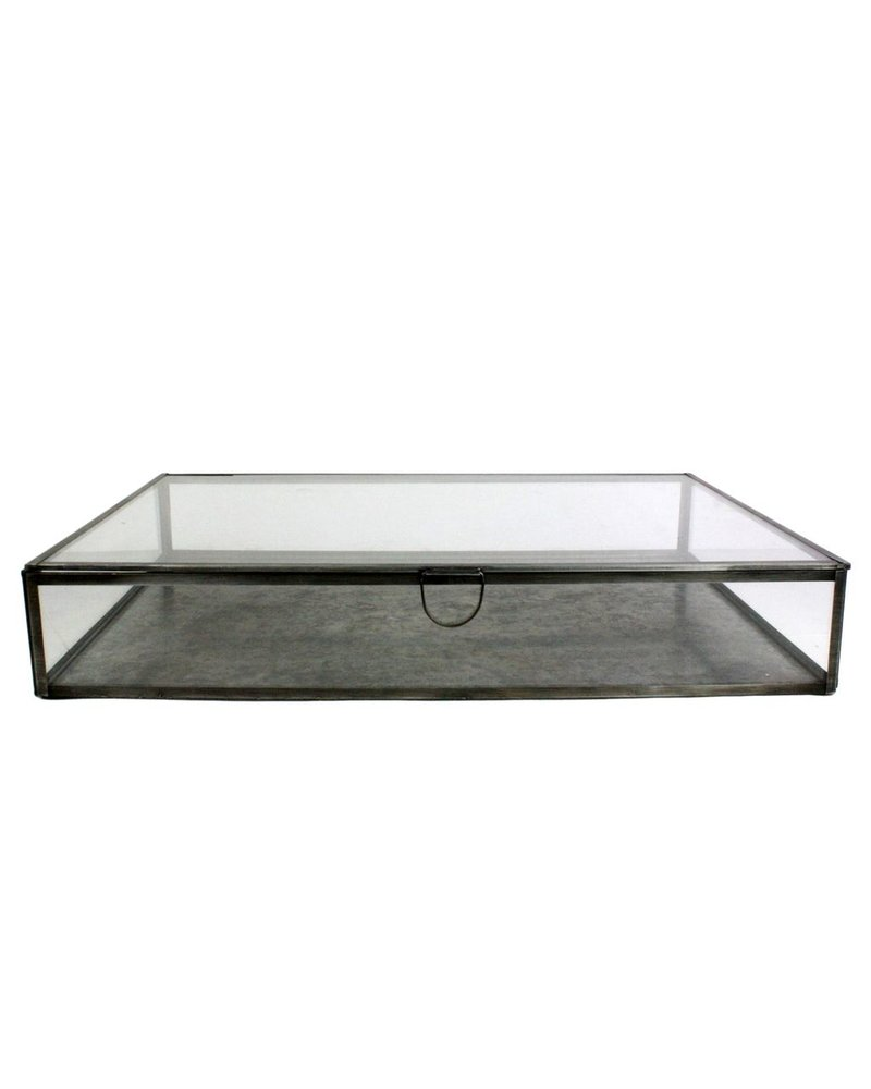 HomArt Pierre Leaded Glass Case - Lrg Rect - Lrg Zinc