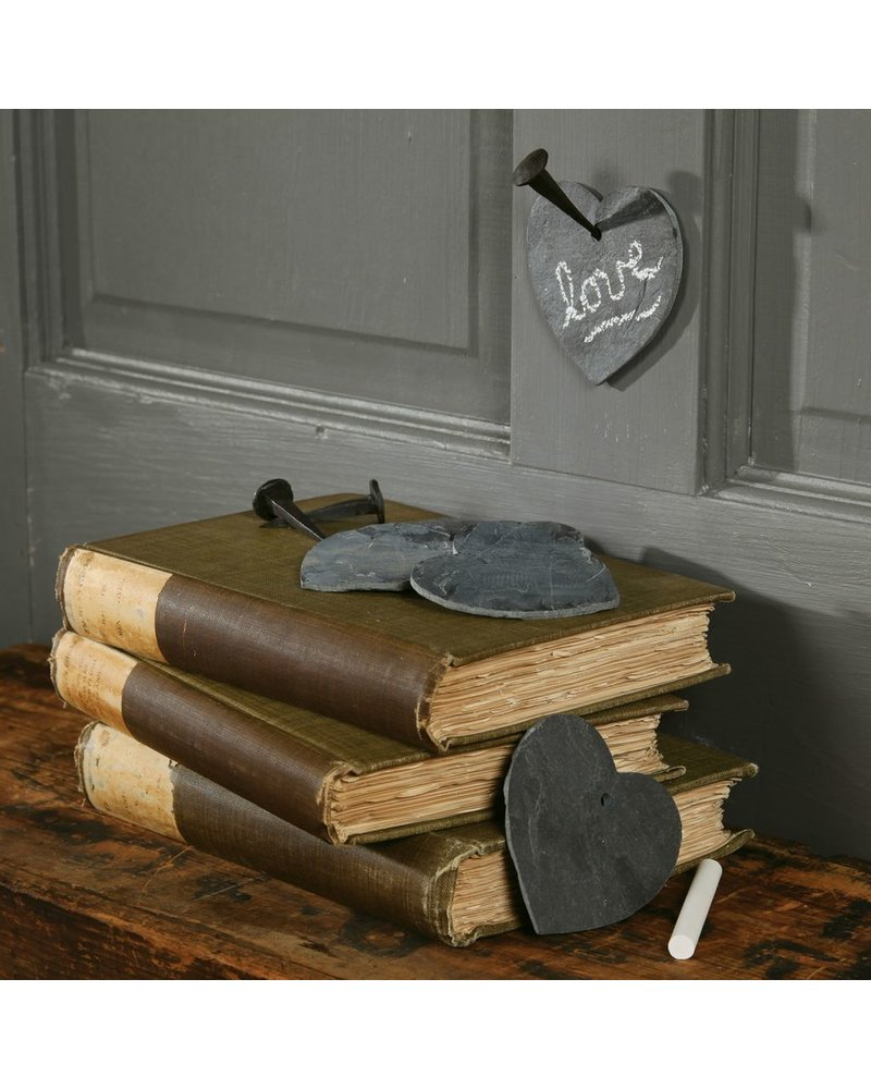 HomArt Black Slate Heart with Hole for Hanging - Set of 3