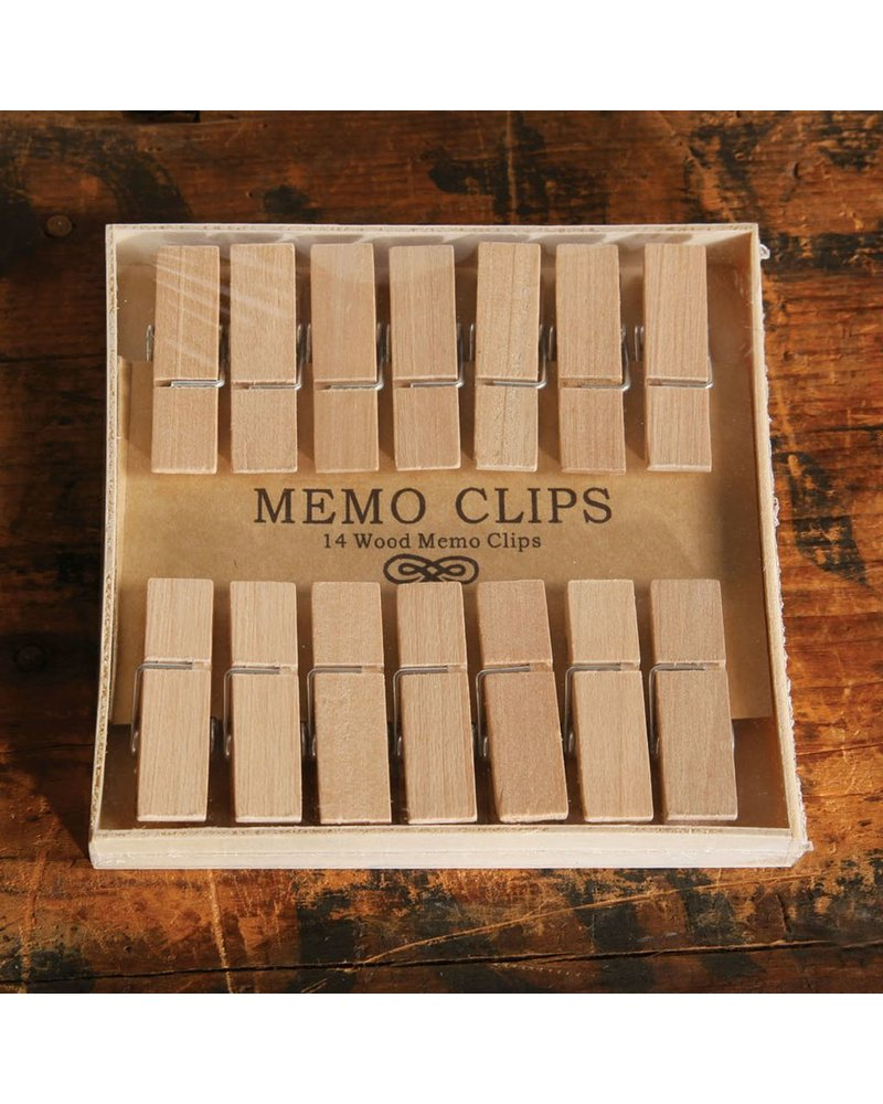 HomArt Memo Clips - Box of 14 - Natural Wood - Set of 2 Boxes