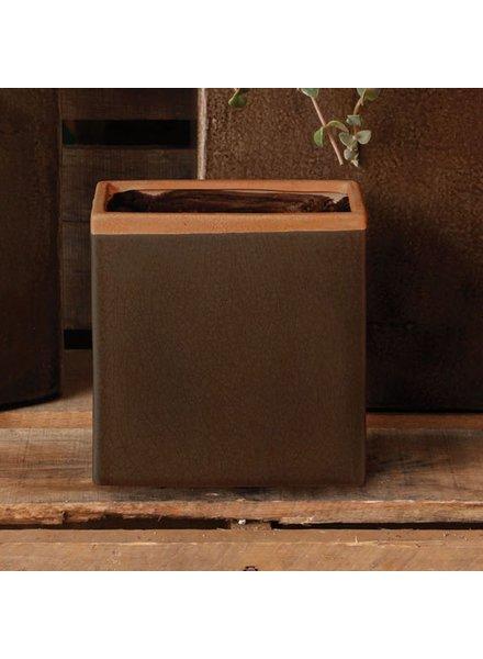 HomArt Mulberry Ceramic Rect Vase - Sm - Espresso