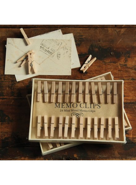 HomArt Natural Wood Memo Clips - Box of 24 - Set of 4 Boxes