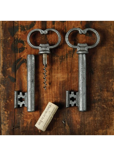 HomArt Skeleton Key Bottle Opener & Cork Pull - Antique Silver