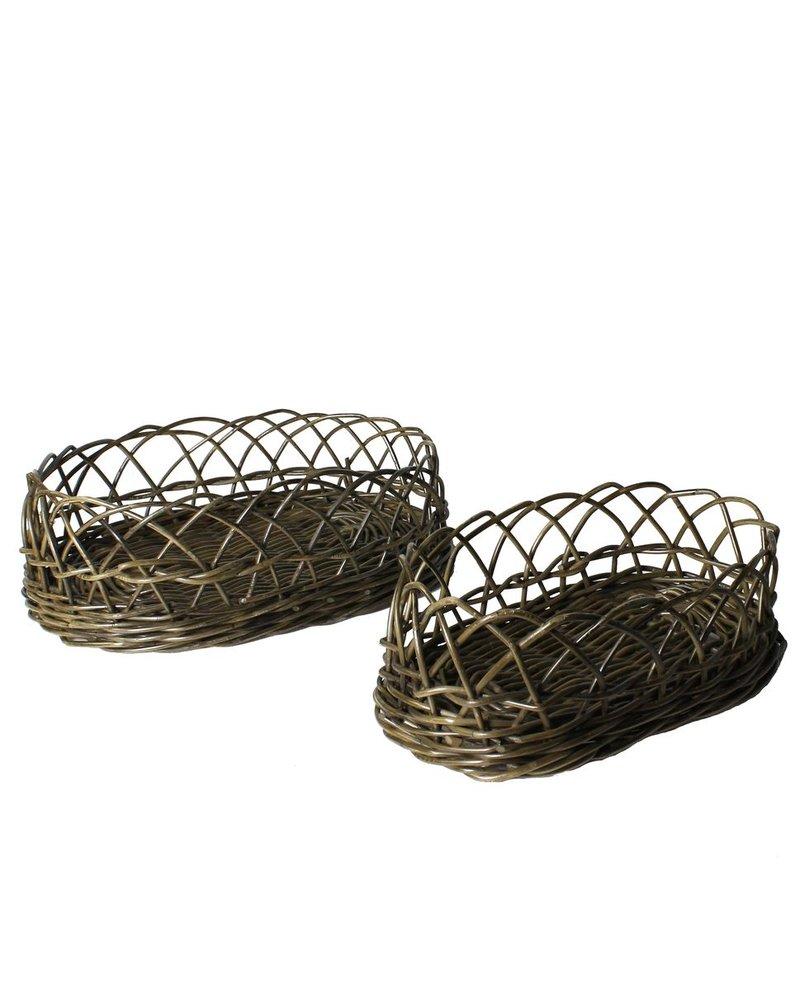 HomArt Stamford Rattan Baskets - Set of 2 - Rustique Dark Grey