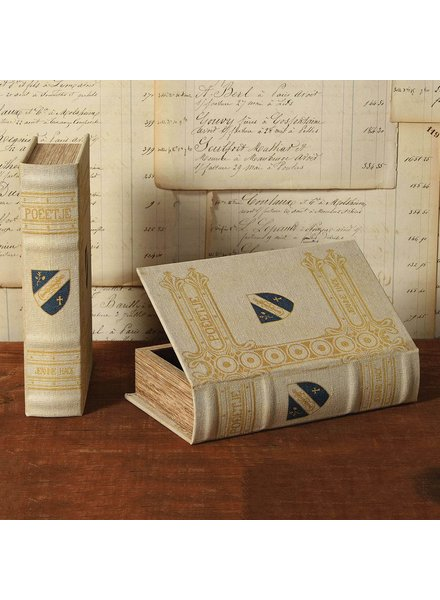 HomArt Vintage Canvas Book Box - Blue Shield