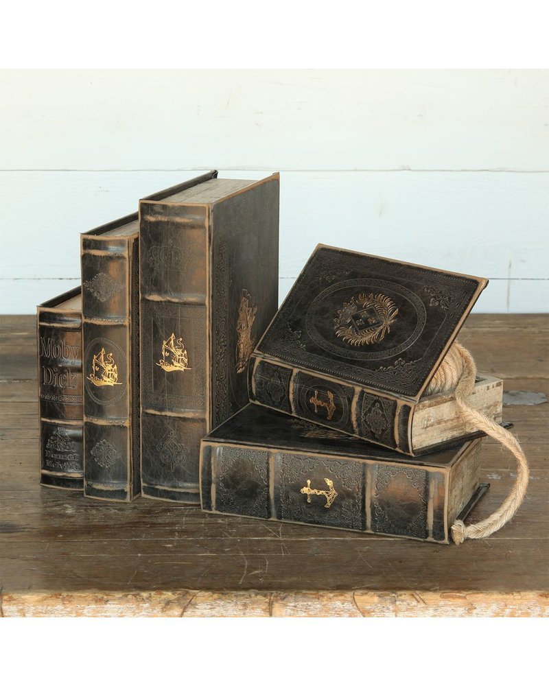 HomArt Maritime Embossed Book Box - Anchor - 8.25 in - Black