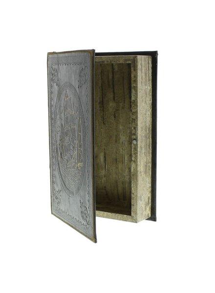 HomArt Maritime Embossed Book Box - Ship - 9.5 in - Black