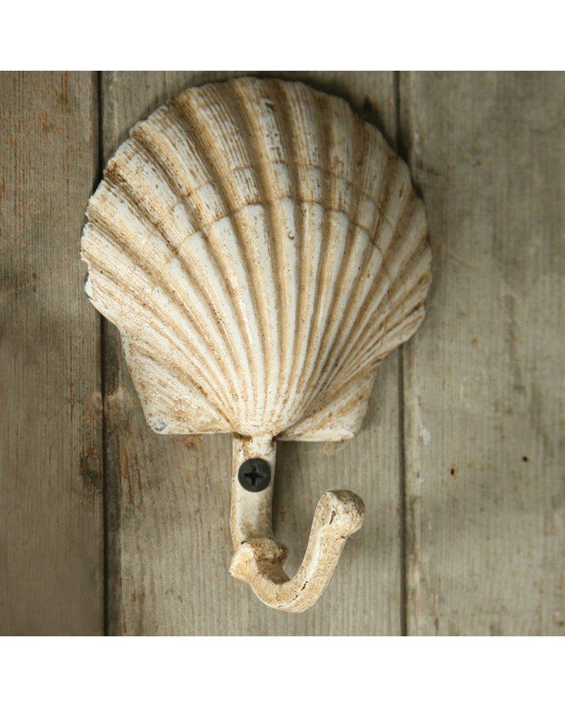 HomArt Seashell Wall Hook - Cast Iron - Scallop - Antique White