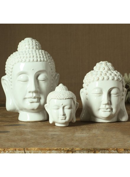 HomArt Ceramic Buddha Head - Sm - Shiny White