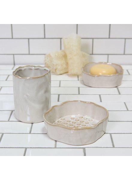 HomArt Bower Ceramic Soap Dish - Rnd - Fancy White - Set of 2