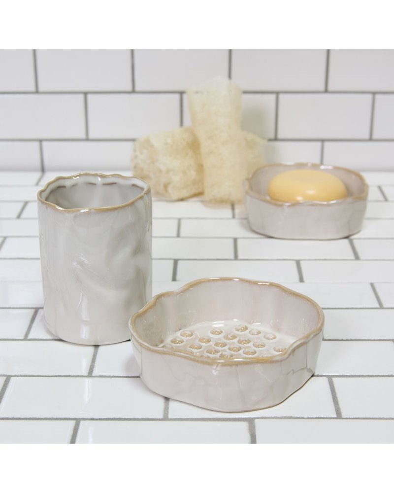 HomArt Bower Ceramic Soap Dish - Rnd - Fancy White