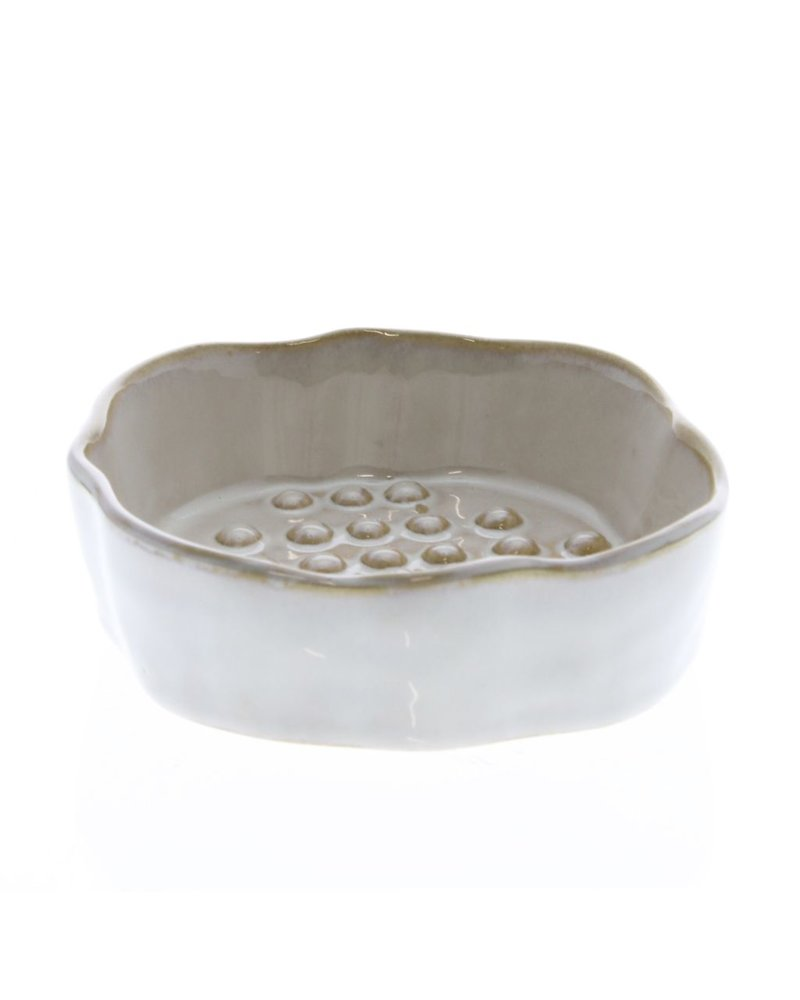 HomArt Bower Ceramic Soap Dish - Rnd - Fancy White - Set of 2