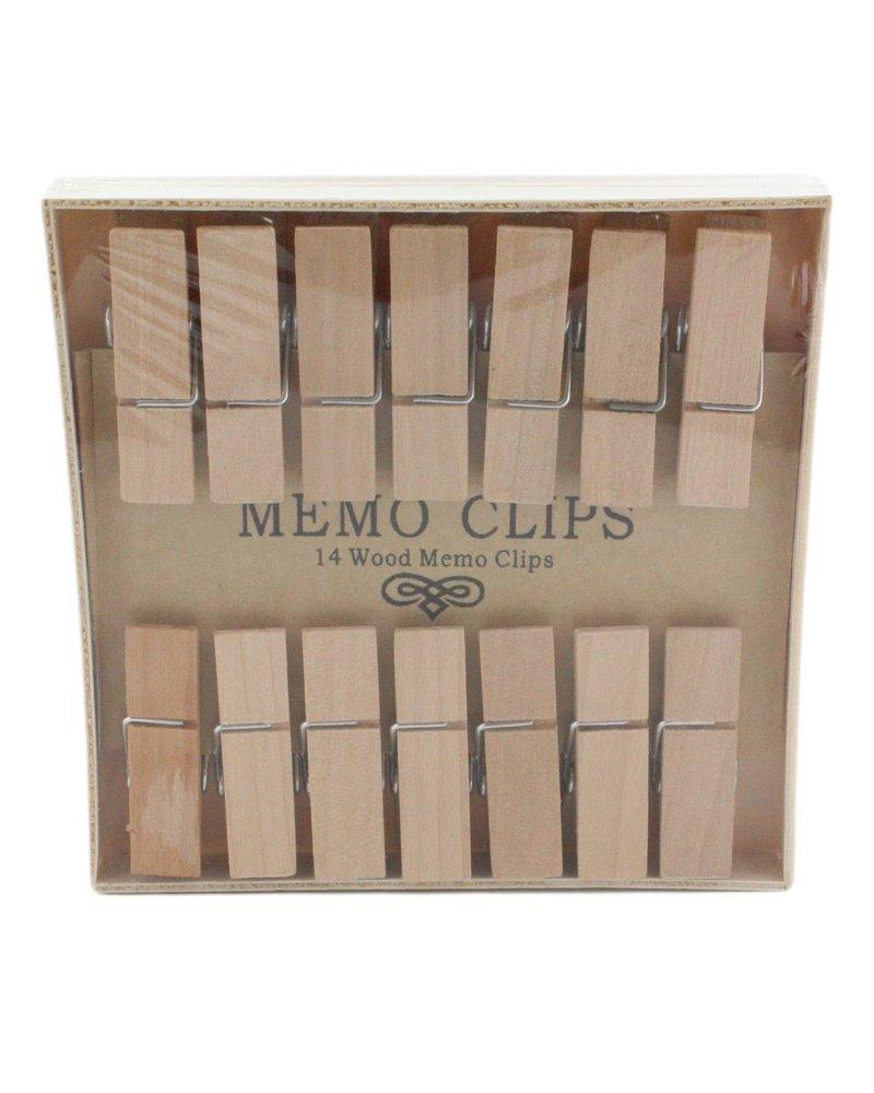 HomArt Memo Clips - Box of 14 - Natural Wood - Set of 2 Boxes
