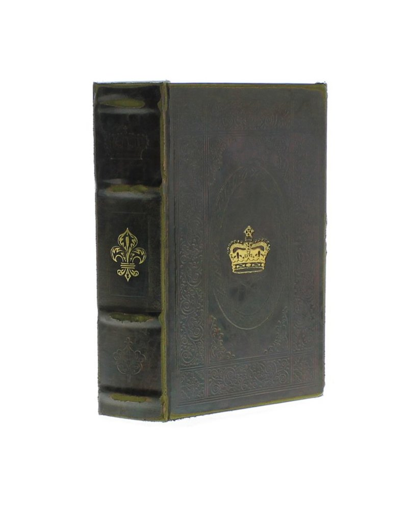 HomArt Royal Embossed Book Box - Fleur & Crown - 8.25 in - Brown