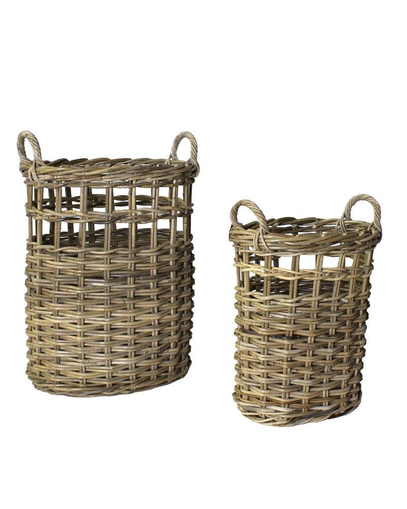 HomArt Newhaven Rattan Umbrella Baskets - Set of 2 - Rustique Grey