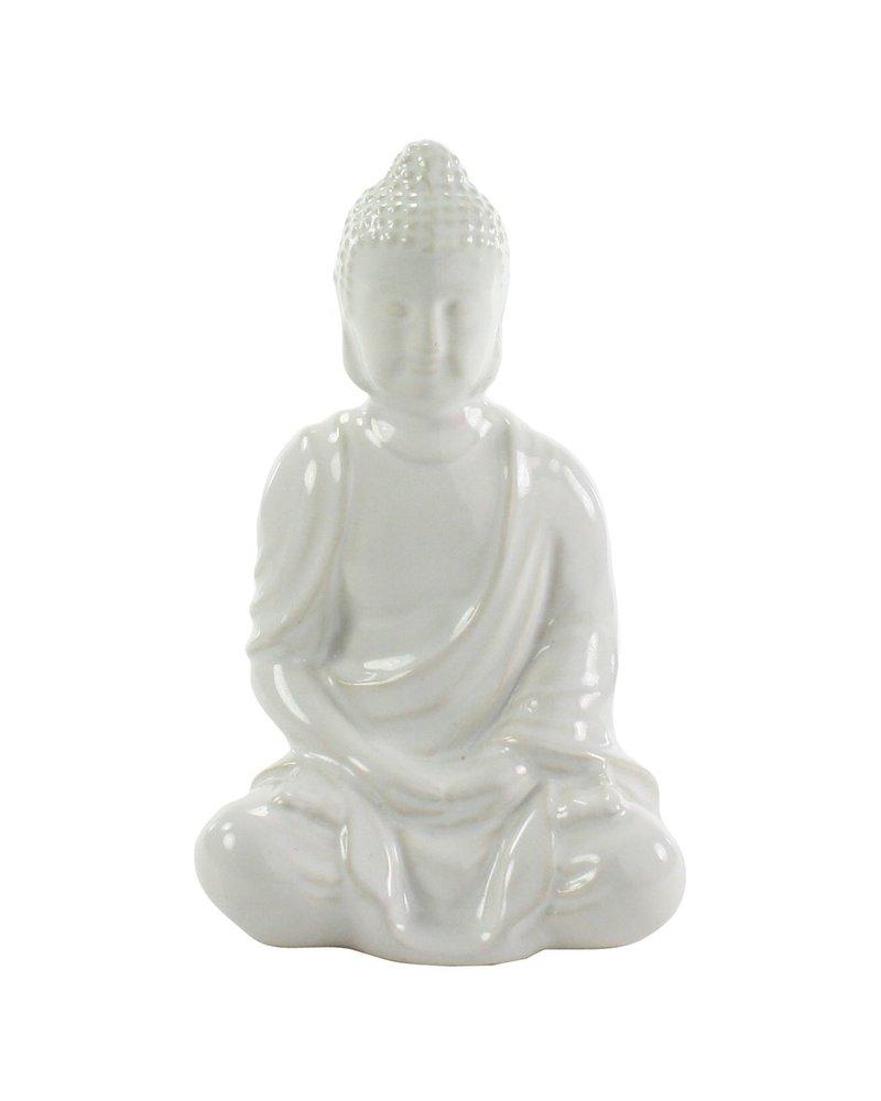 HomArt Sitting Buddha - Glazed White - Set of 2