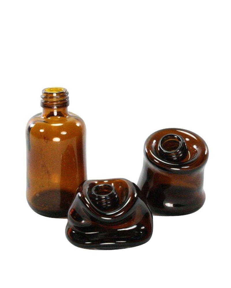 HomArt Slumped Glass Bottle - Sm - Assorted - Brown - Set of 2