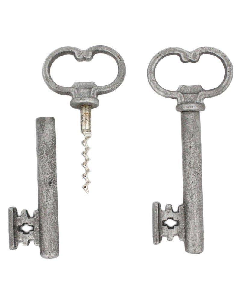 HomArt Skeleton Key Bottle Opener & Cork Pull - Antique Silver