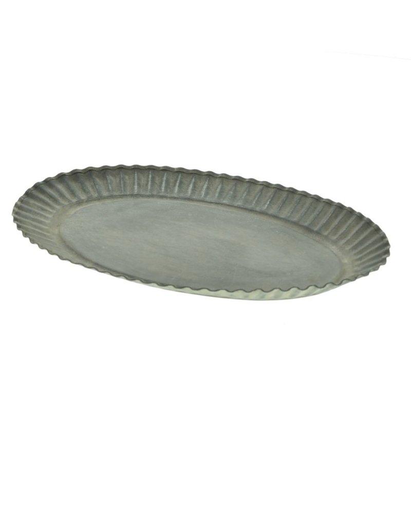 HomArt Ross Flared Oval Metal Tray - Petite - Galvanized
