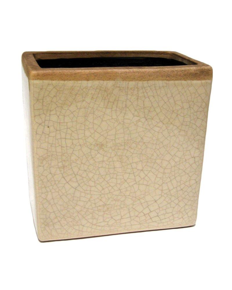 HomArt Mulberry Ceramic Rect Vase - Sm - White