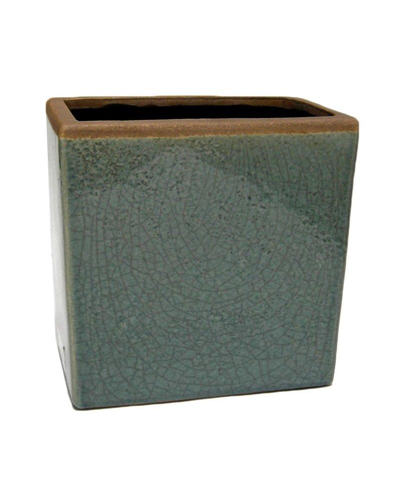 HomArt Mulberry Ceramic Rect Vase - Sm - Teal