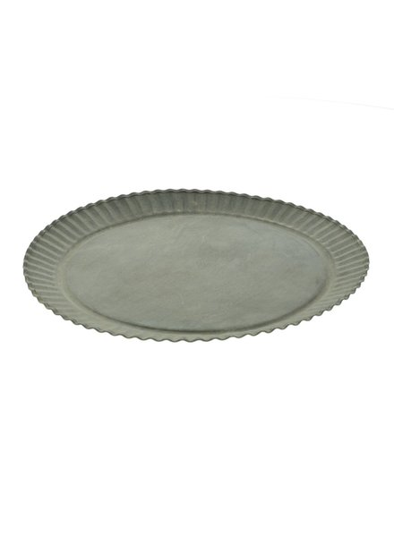 HomArt Ross Flared Round Metal Tray - Grand - Galvanized
