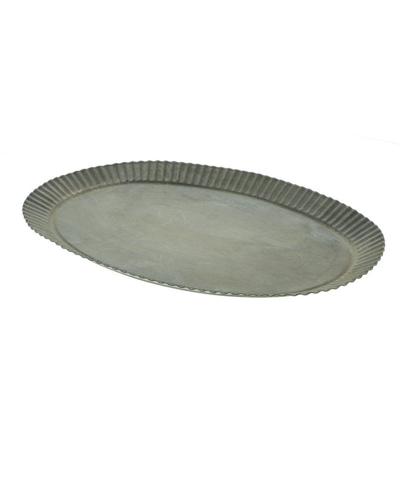 HomArt Ross Flared Oval Metal Tray - Grand - Galvanized