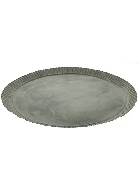 HomArt Ross Flared Round Metal Tray - Lrg - Galvanized
