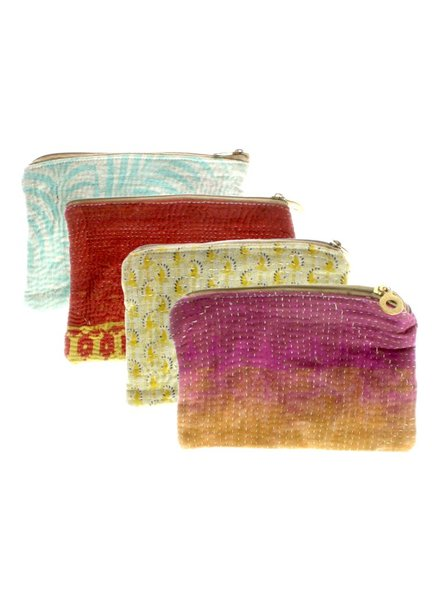 HomArt Kantha Fabric Pouch - Set of 2