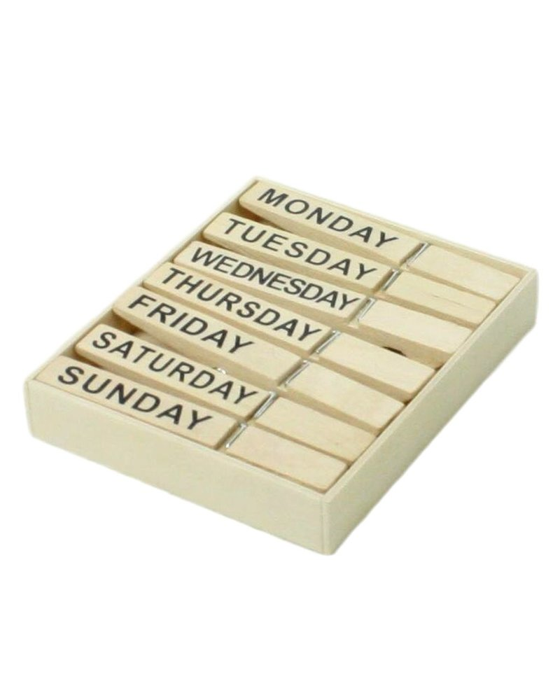 HomArt Natural Wood Clips - Day of the Week - Set of 4 Packs