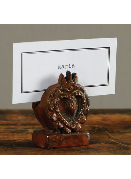 HomArt Sacred Heart Place Card Holder - Cast Iron - Rust
