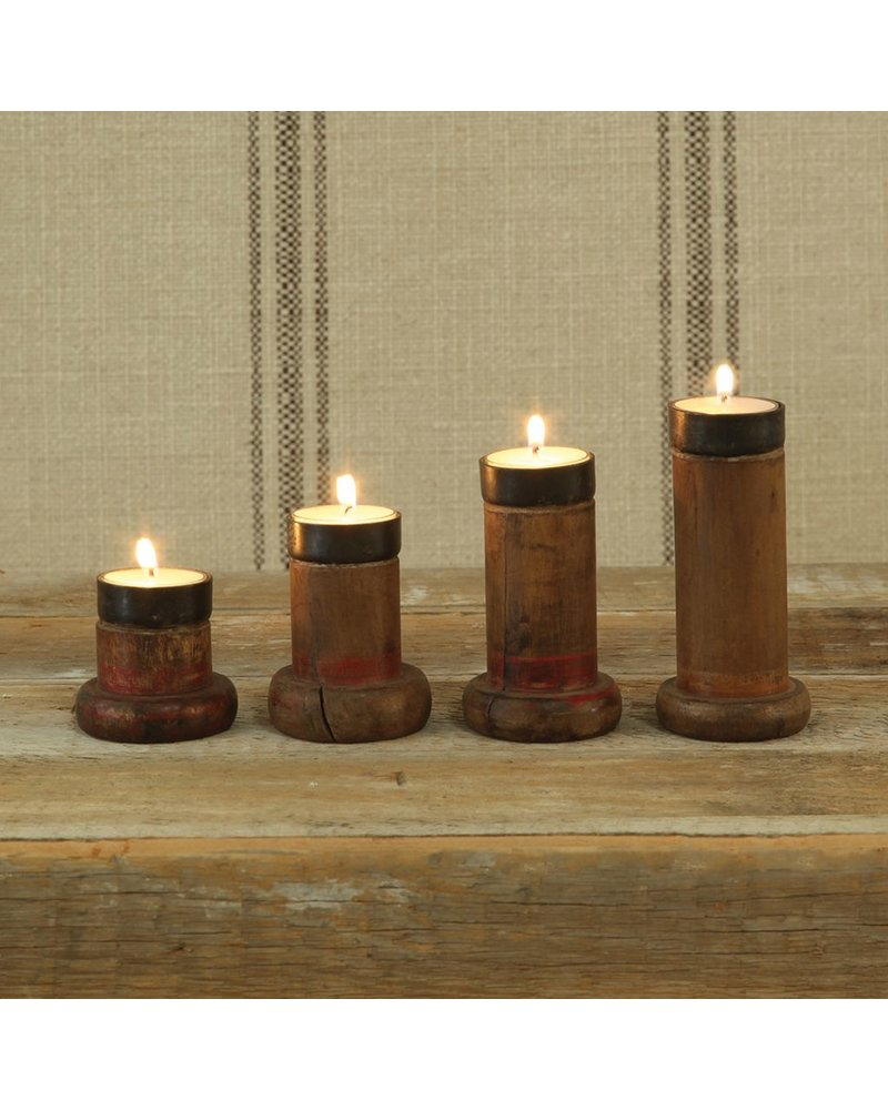 HomArt Piper Wood Spool Tealight Holder - Set of 4 Assorted