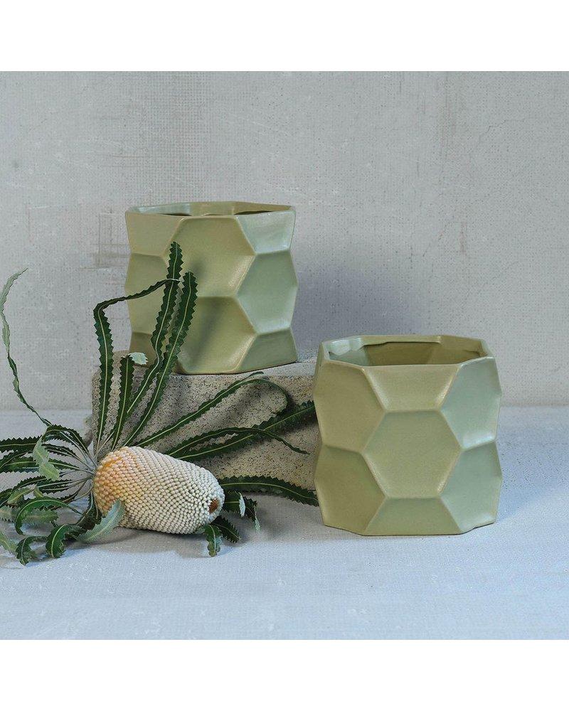 HomArt Kane Ceramic Vase - Med - Matte Green
