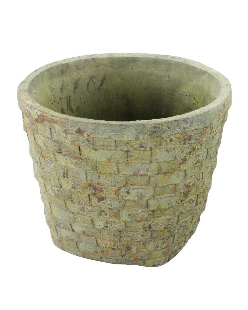 HomArt Cement Basket - Checker Weave - Lrg