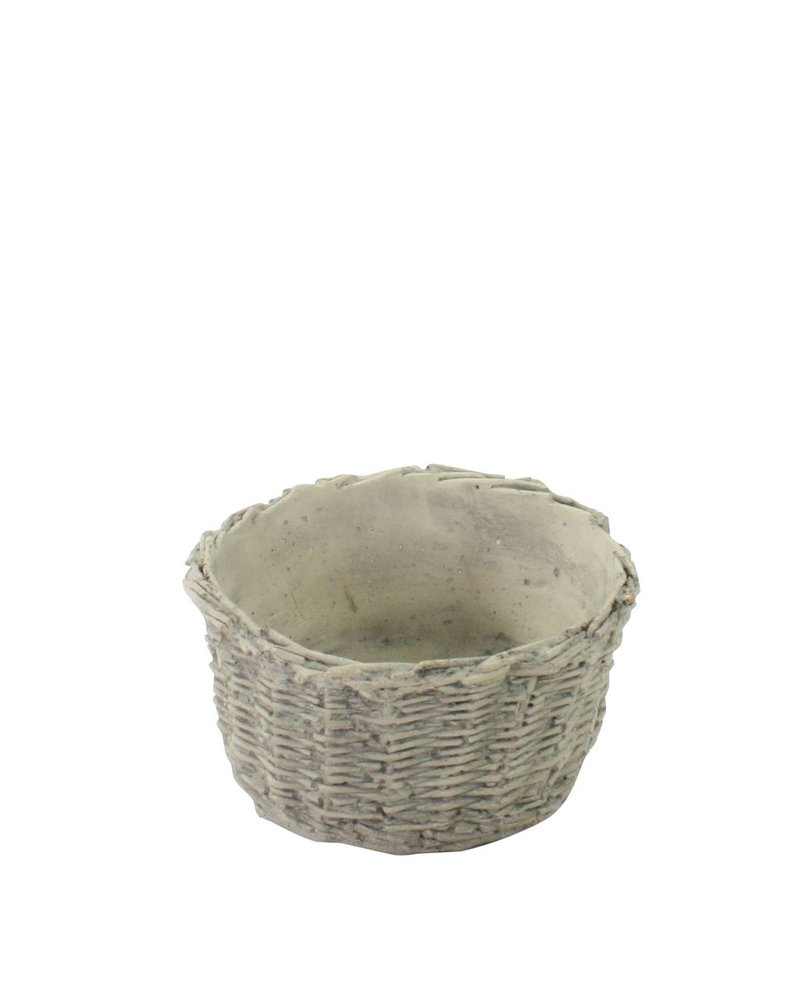 HomArt Cement Basket - Twined Weave - Oval - Sm