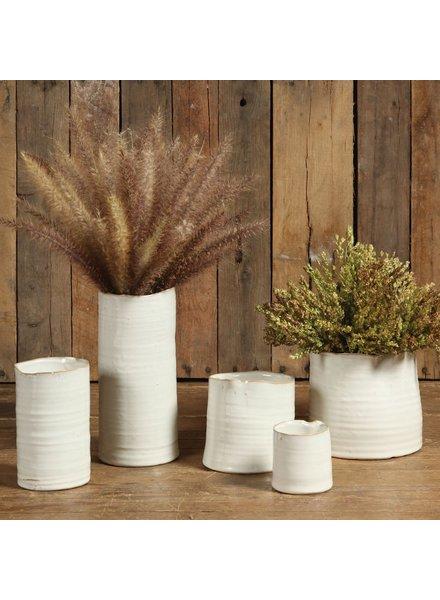 HomArt Bower Ceramic Vase - Sm Wide - Fancy White Set of 4