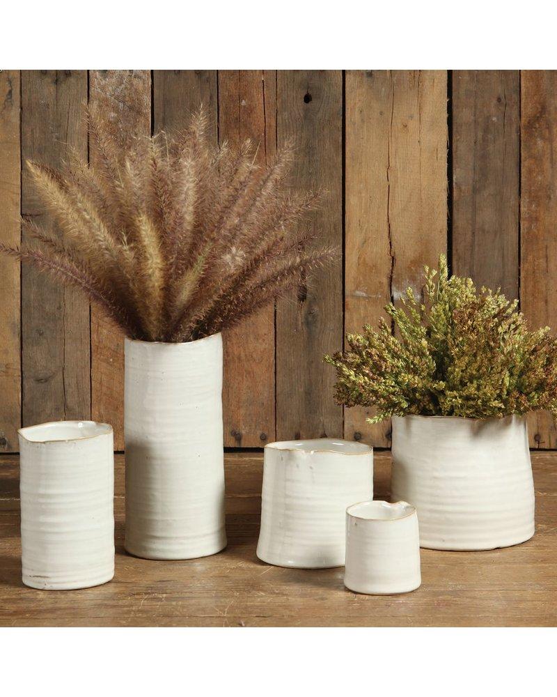 HomArt Bower Ceramic Vase - Sm Wide - Fancy White