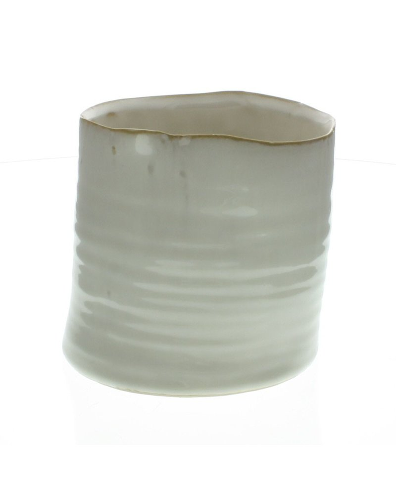 HomArt Bower Ceramic Vase - Med Wide - Fancy White
