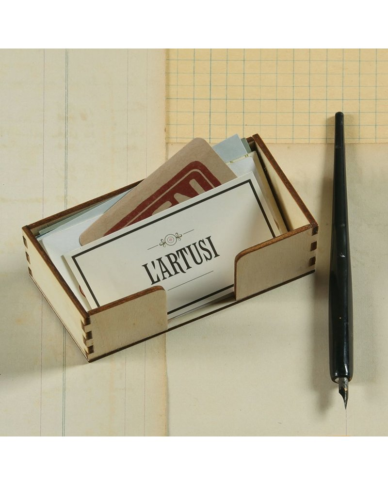 HomArt Business Place Card Holder - Natural Wood Set of 12