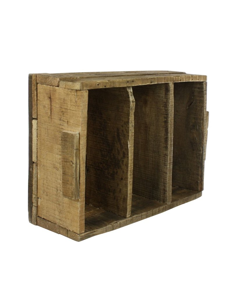 HomArt Market Salvaged Wood Crate with Dividers - Vertical - Natural