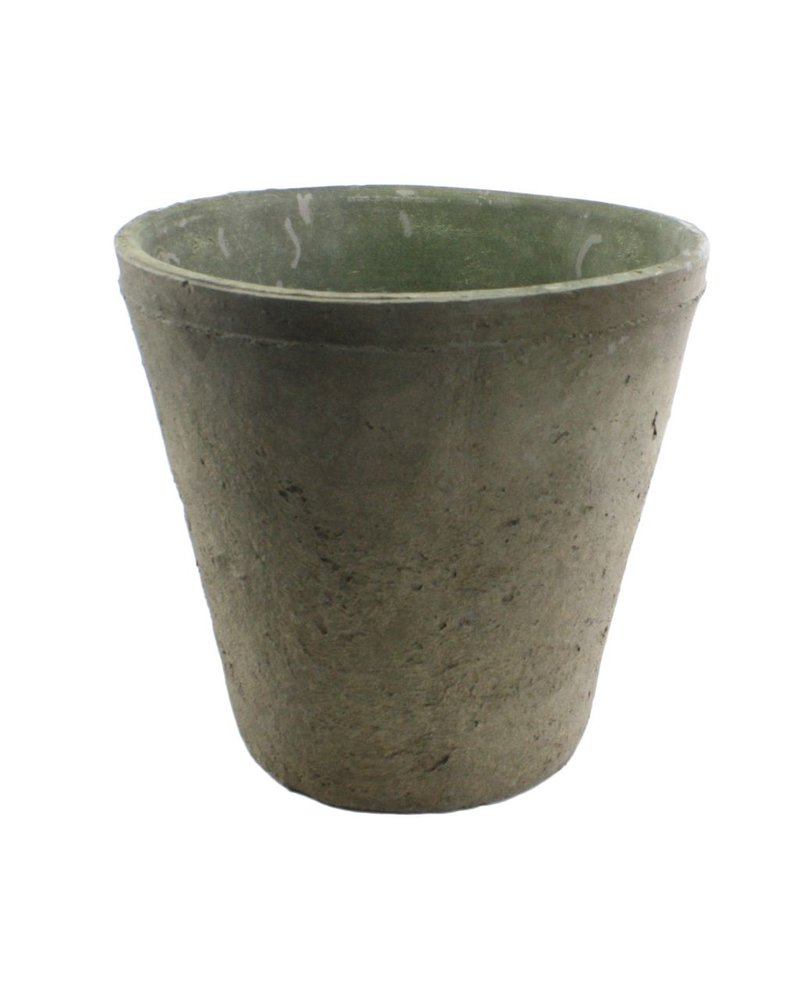 HomArt Rustic Terra Cotta Rose Pot - Grande - Moss Grey