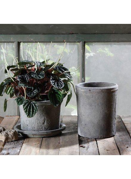 HomArt Rustic Terra Cotta Cylinder - Lrg - Moss Grey