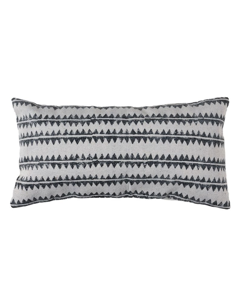 HomArt Block Print Lumbar Pillow 12x24 - Sawtooth Stripe