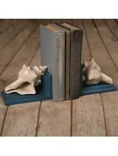 HomArt Seashell Bookends - Cast Iron - White Blue