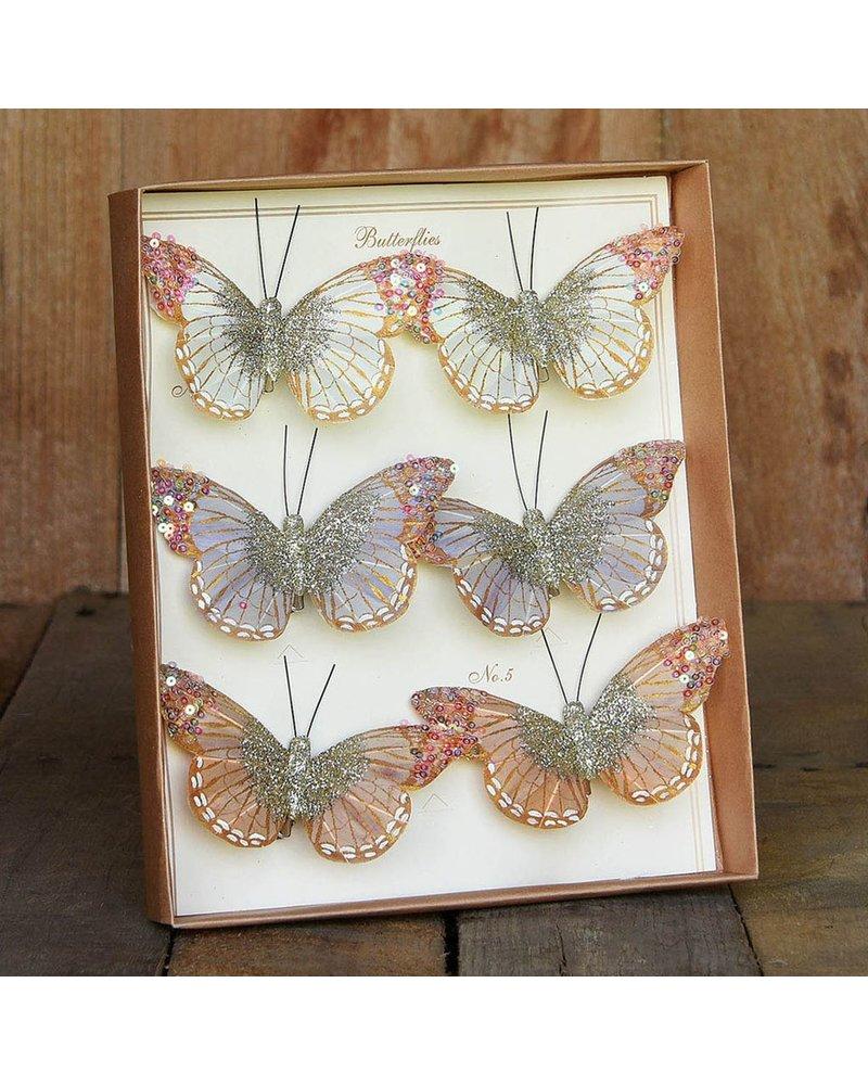 HomArt Mandarin Glitter Butterflies on Clip - Box of 6 Assorted - White, Grey, Taupe